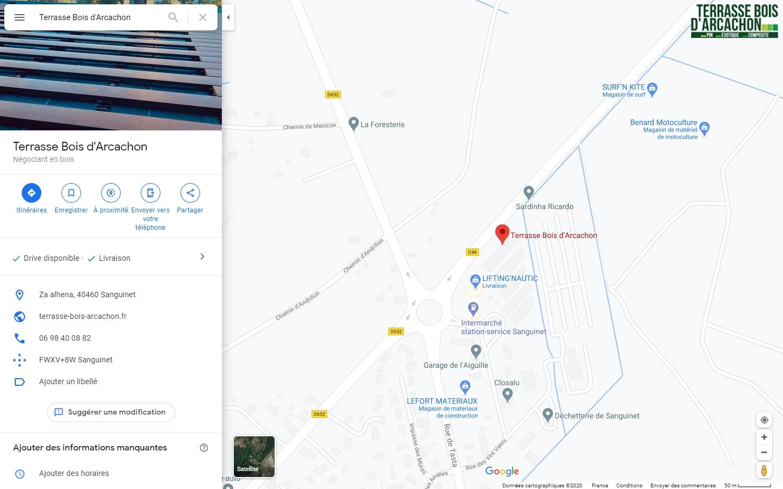 Plan Google pour venir à l'entreprise Terrasse Bois d'Arcachon